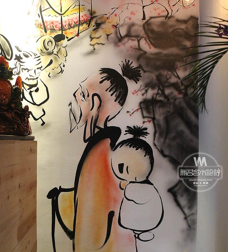 京釜山火炉韩式烧烤店墙面绘制,烧烤店墙绘,餐饮墙绘