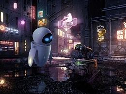 【瓦力WALL·E的狗粮放送】电影级渲染合成海报