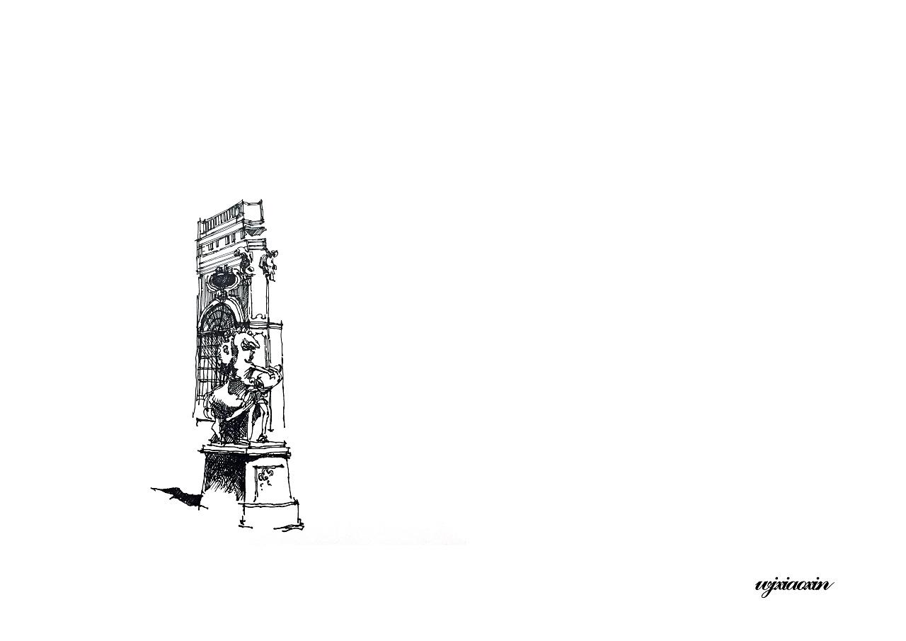 《欧洲建筑编》建筑钢笔线稿图片
