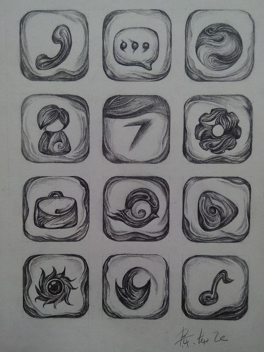 手绘图标,12个.|图标|ui|狄龙丶 - 原创设计作品