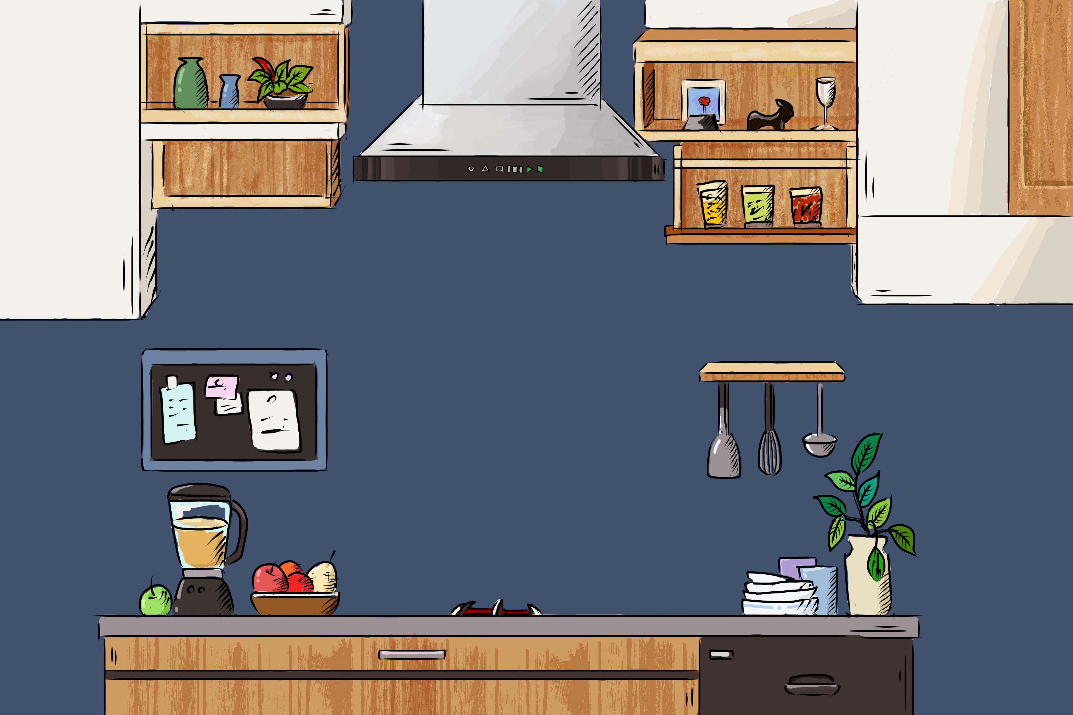 手绘插画厨房