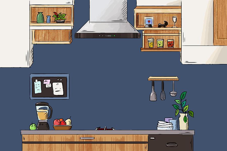 原创作品:手绘插画厨房