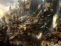 《三打》概念设计系列过程图之城镇全景