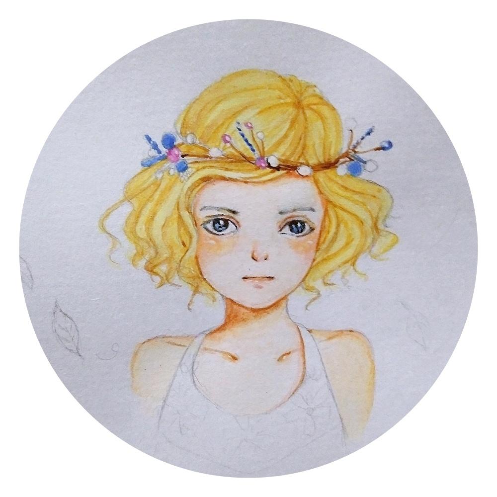 水粉小女孩