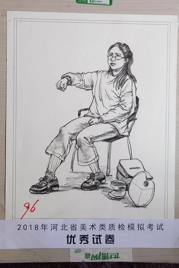 河北省2018美术二模速写高分卷 部分图片