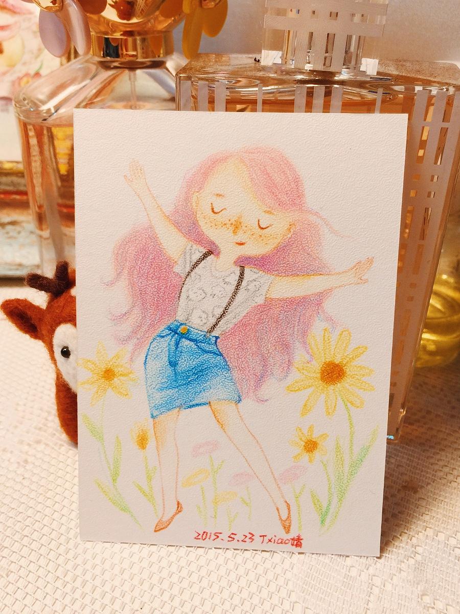 手绘彩铅小人物系列插画32|商业插画|插画|丁小婧