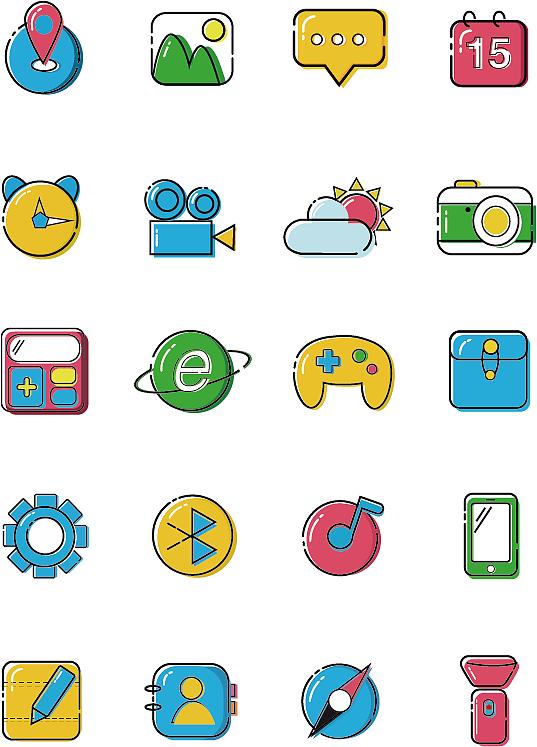 卡通 相册 手电筒 相机 手绘 断点 彩色 mbe风格图标 icon 可爱 手机