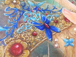水彩手绘-红妆