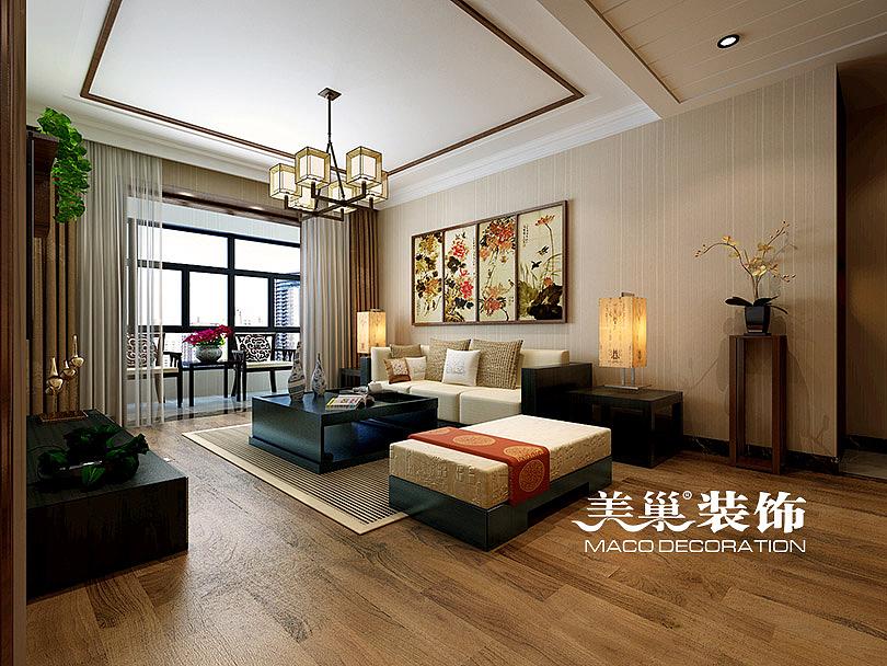 郑州正商新蓝钻装修效果图120平三室两厅新中式设计方案