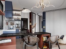 Anson︱现代小户型客餐厅卧室表现