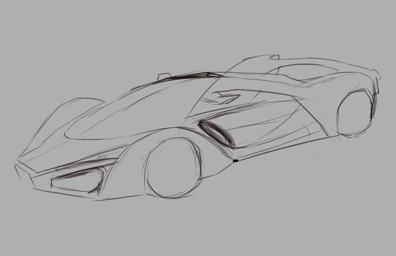 跑车简笔画简单