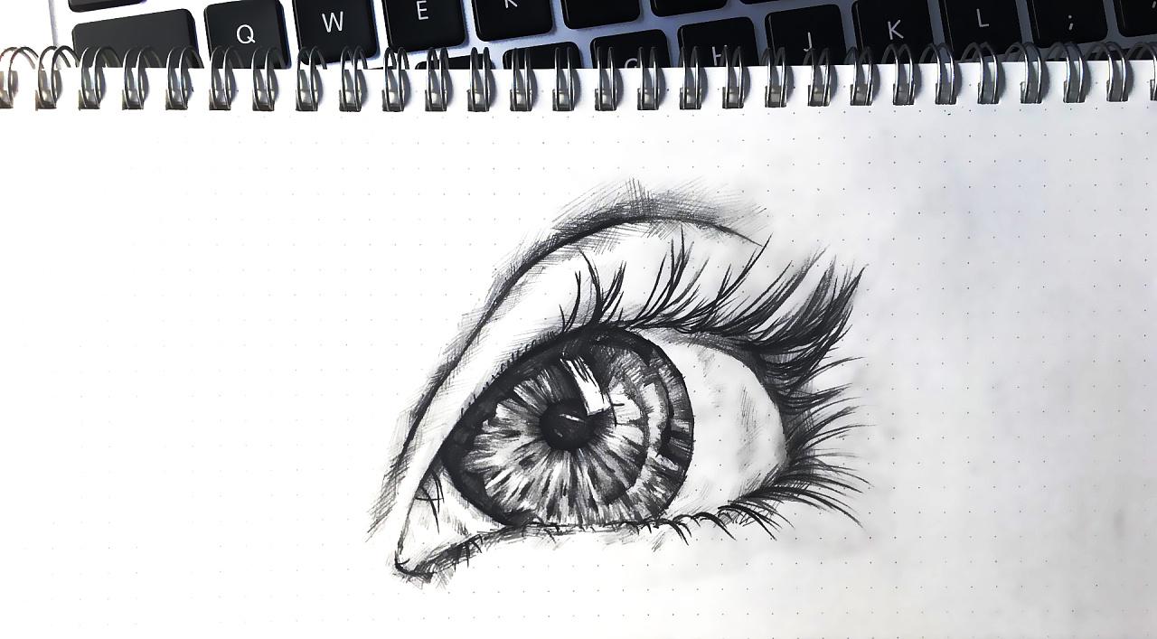 大眼睛 手绘素描 手稿