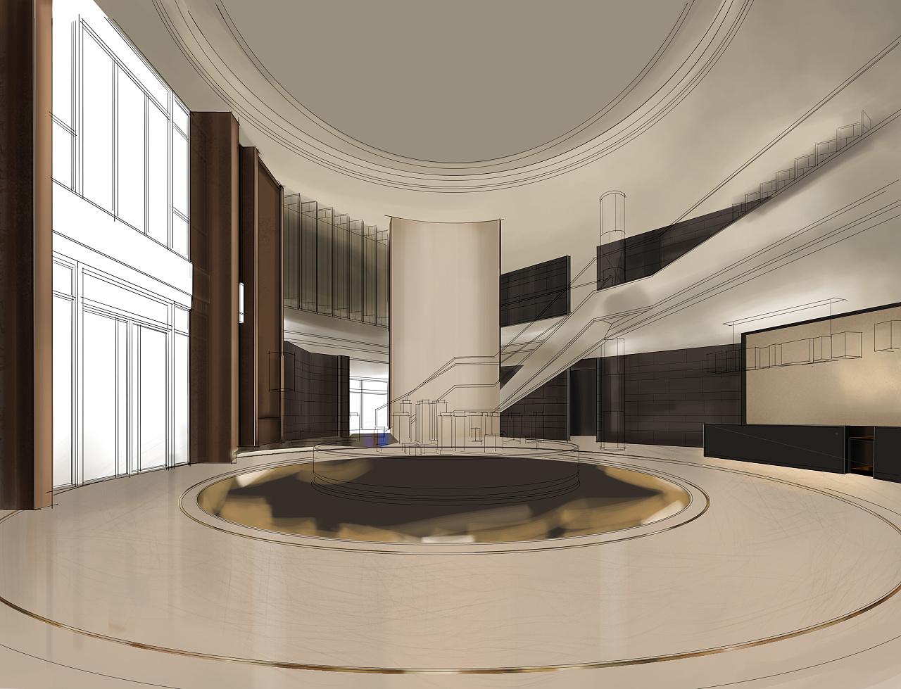 售楼部大堂(电脑手绘效果图)|空间|室内设计|a32号