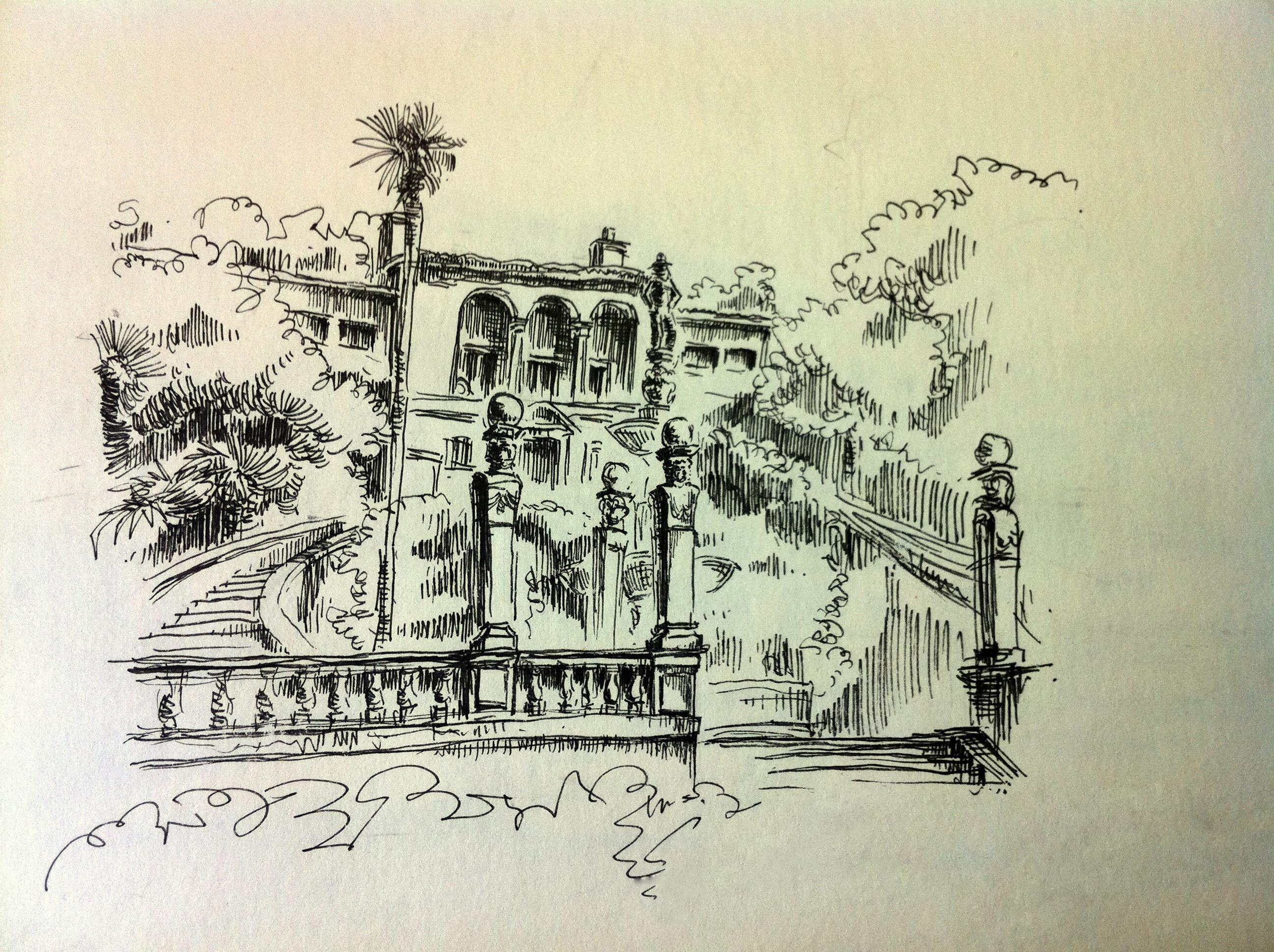 建筑钢笔画彩铅画