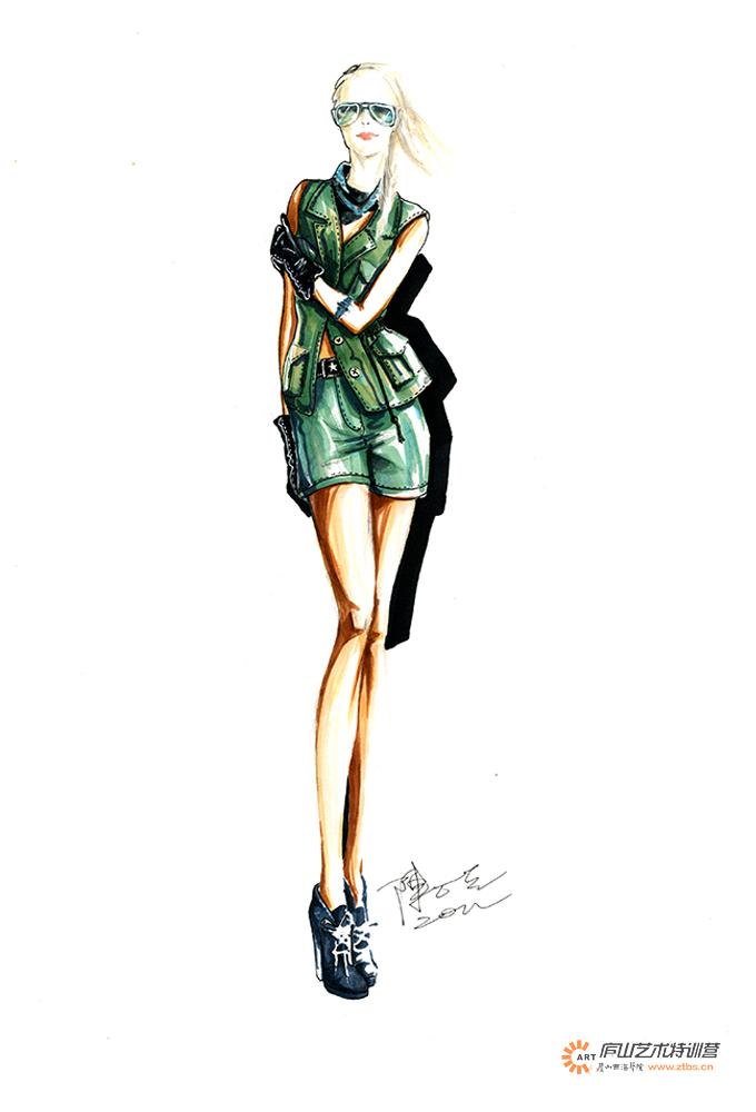 服装马克笔手绘系列——陈石英老师|休闲/流行服饰