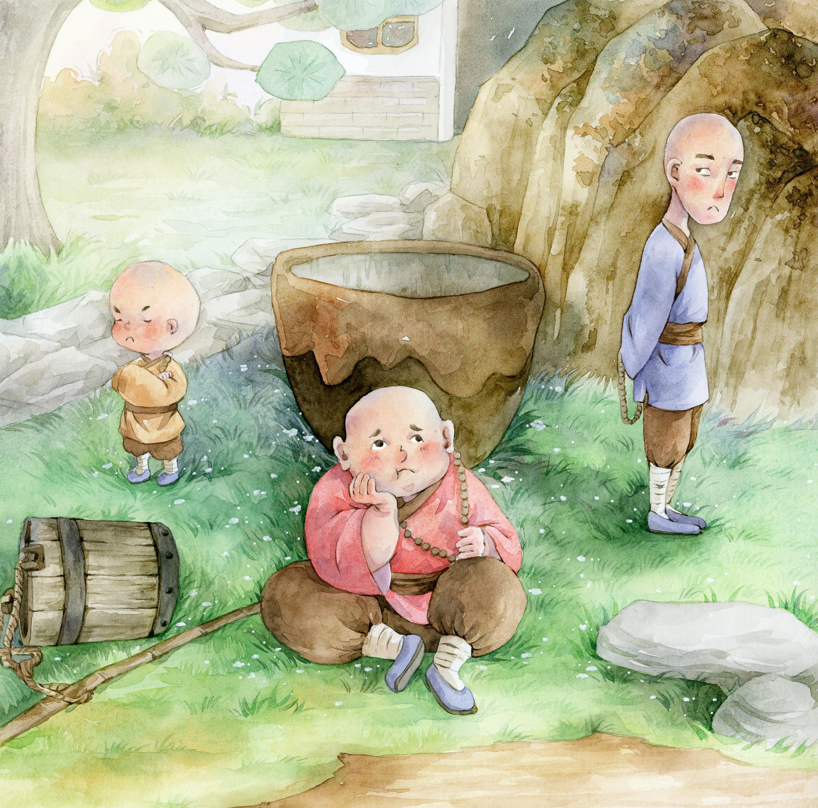水彩插画绘本-三个和尚图片