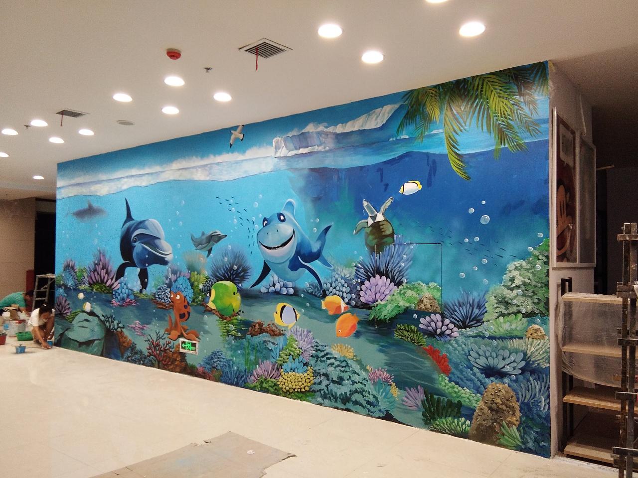 太原3d海底世界彩绘太原商场彩绘