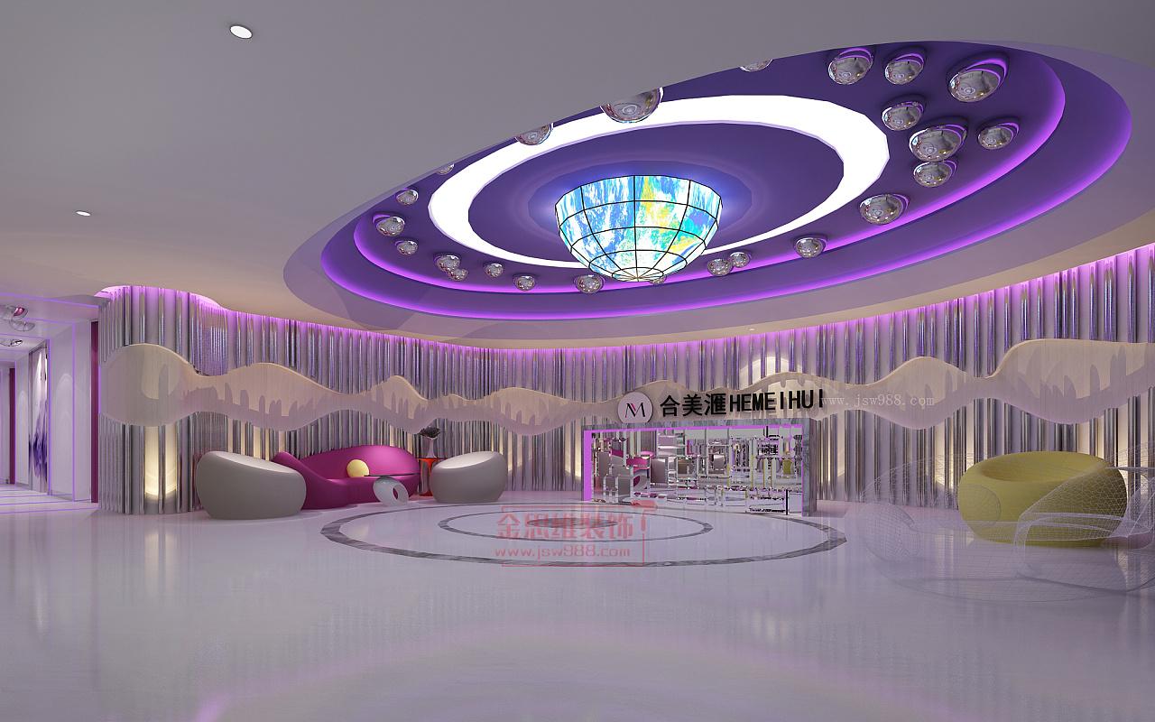 廣州合美滙美容院大廳裝修設計效果圖,更注重頂部整體和墻壁的裝飾圖片