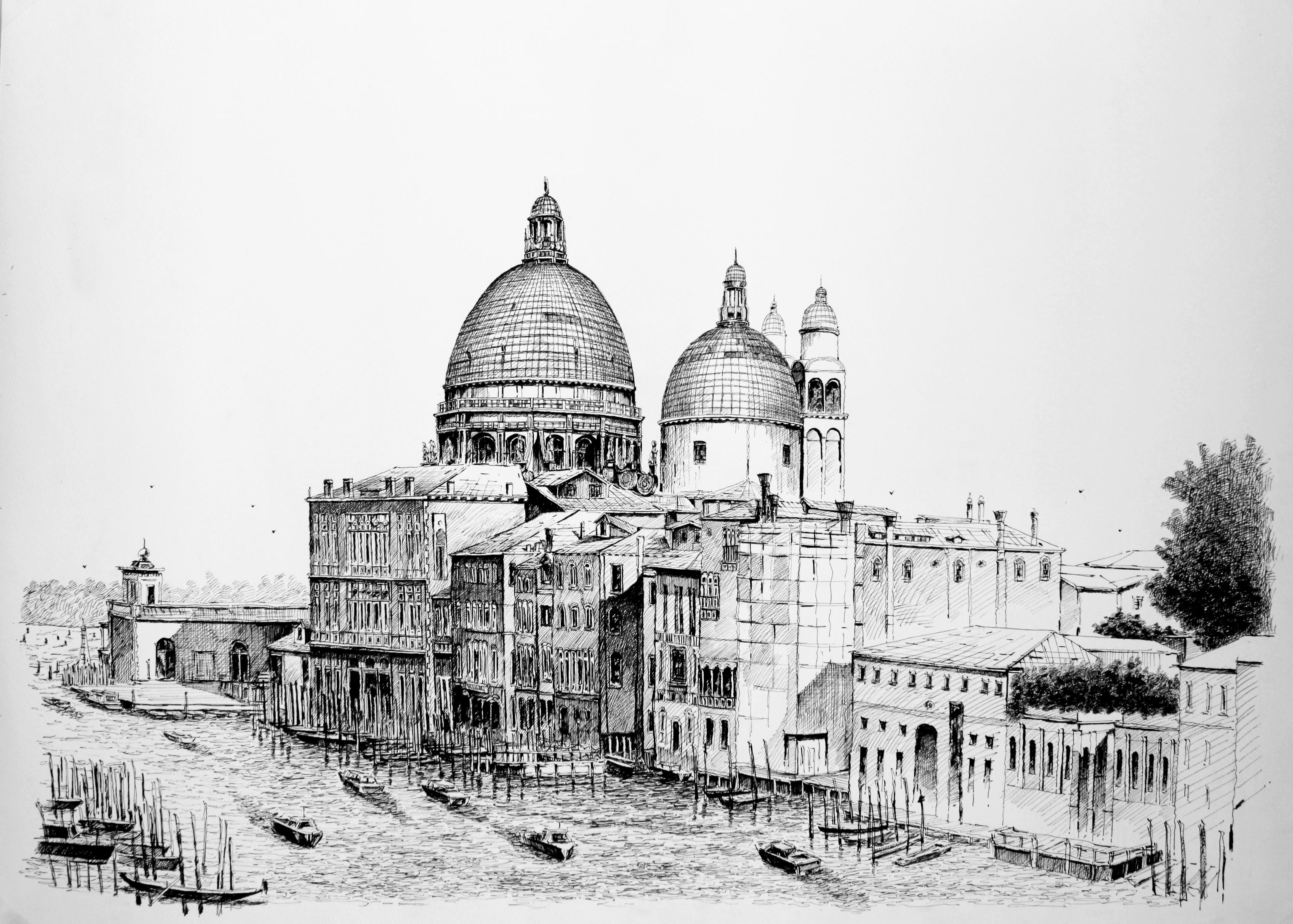 威尼斯建筑风景钢笔画