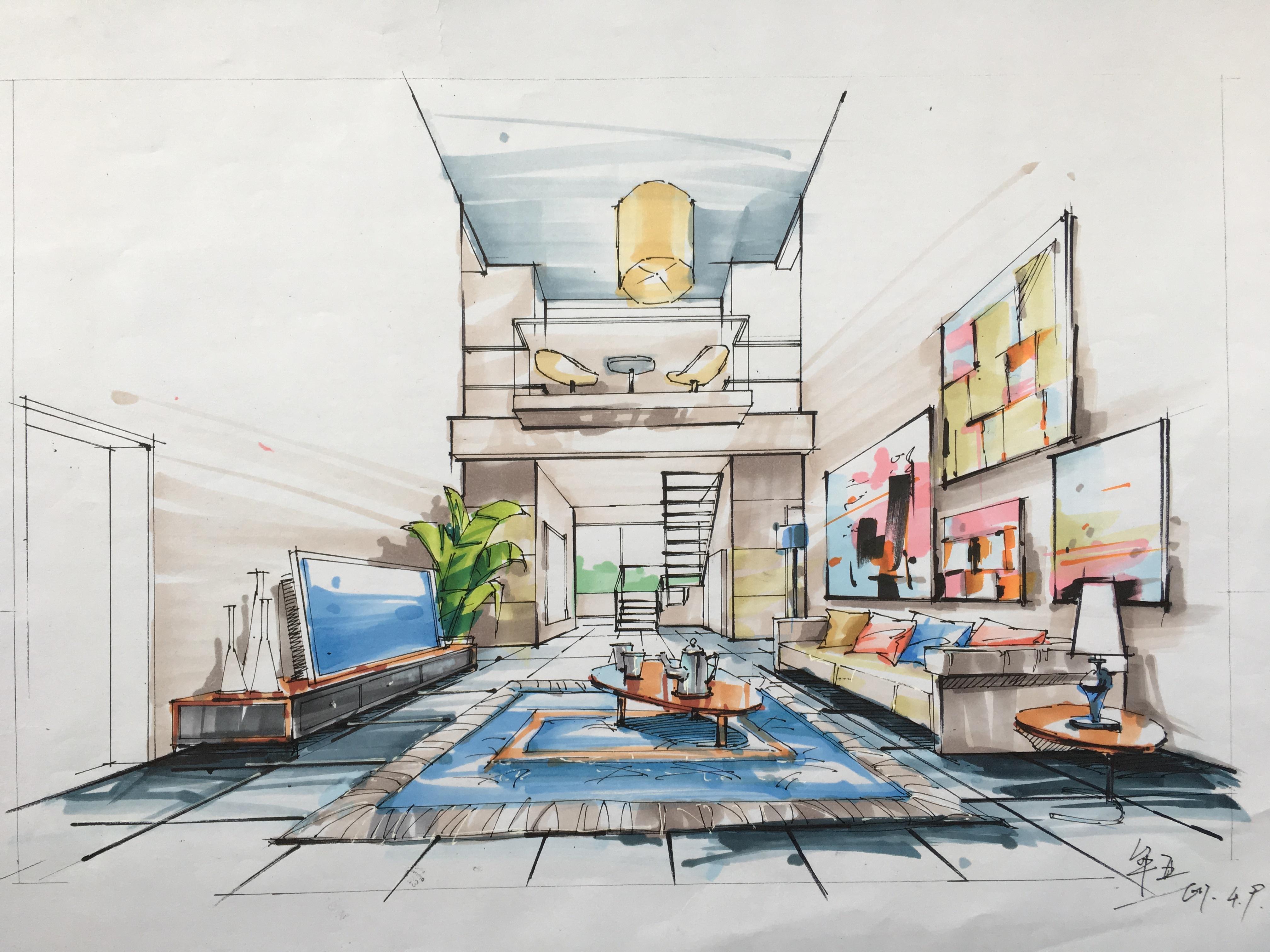 学生作品-马克笔室内效果图表现|空间|室内设计|purz