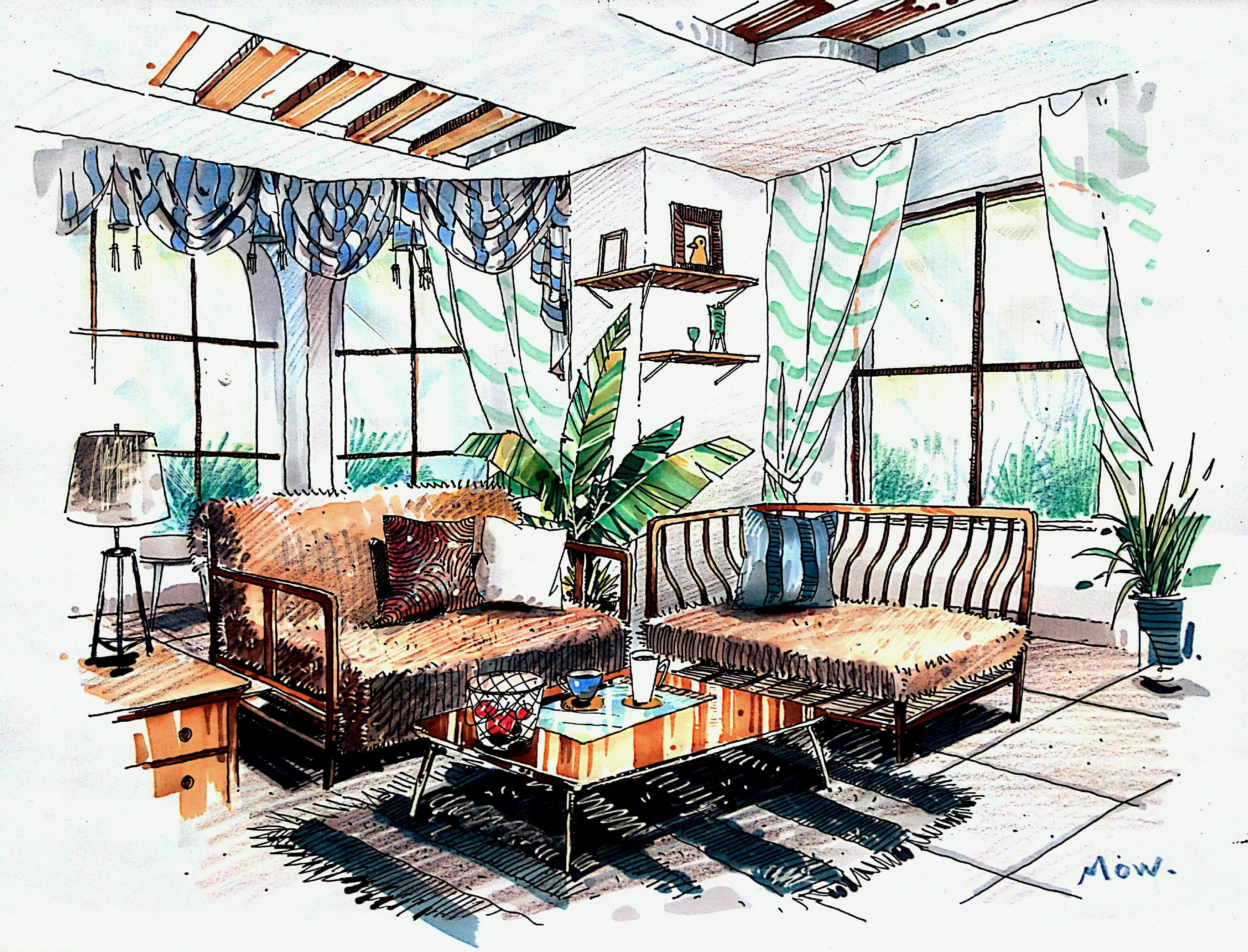 手绘客厅正面效果图
