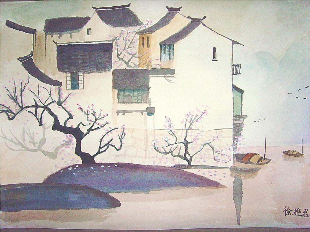 手绘水彩《江南水乡》