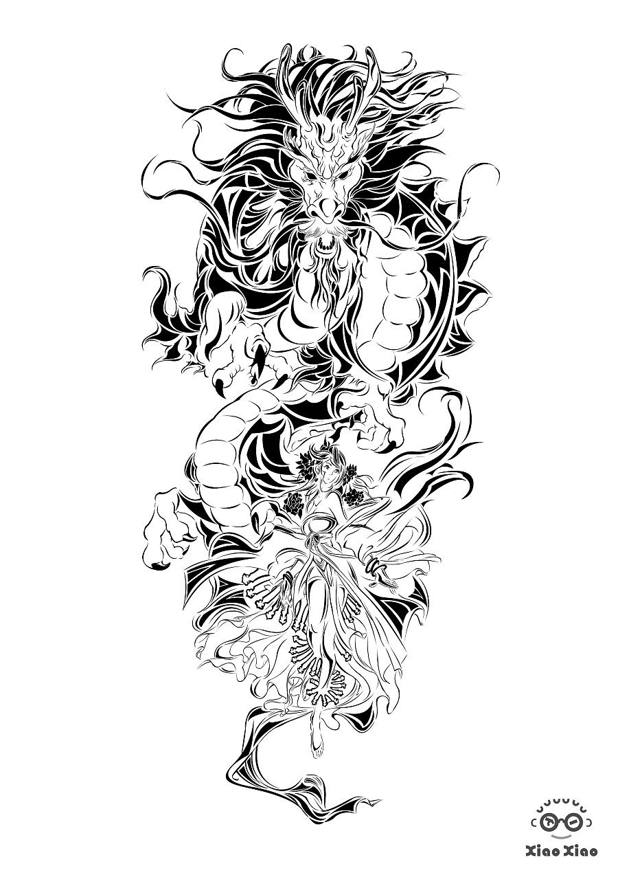 黑白纹身画|商业插画|插画|心跳回忆xiaoxiao图片