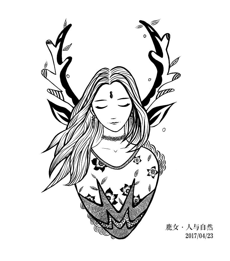 「练习」鹿女·人与自然 手绘插画