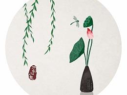 水墨中国风插画——竹间系列·禅意荷花