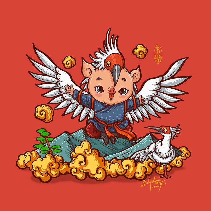 西安新艺术中心猪年红包|插画|商业插画|刘明de画画图片
