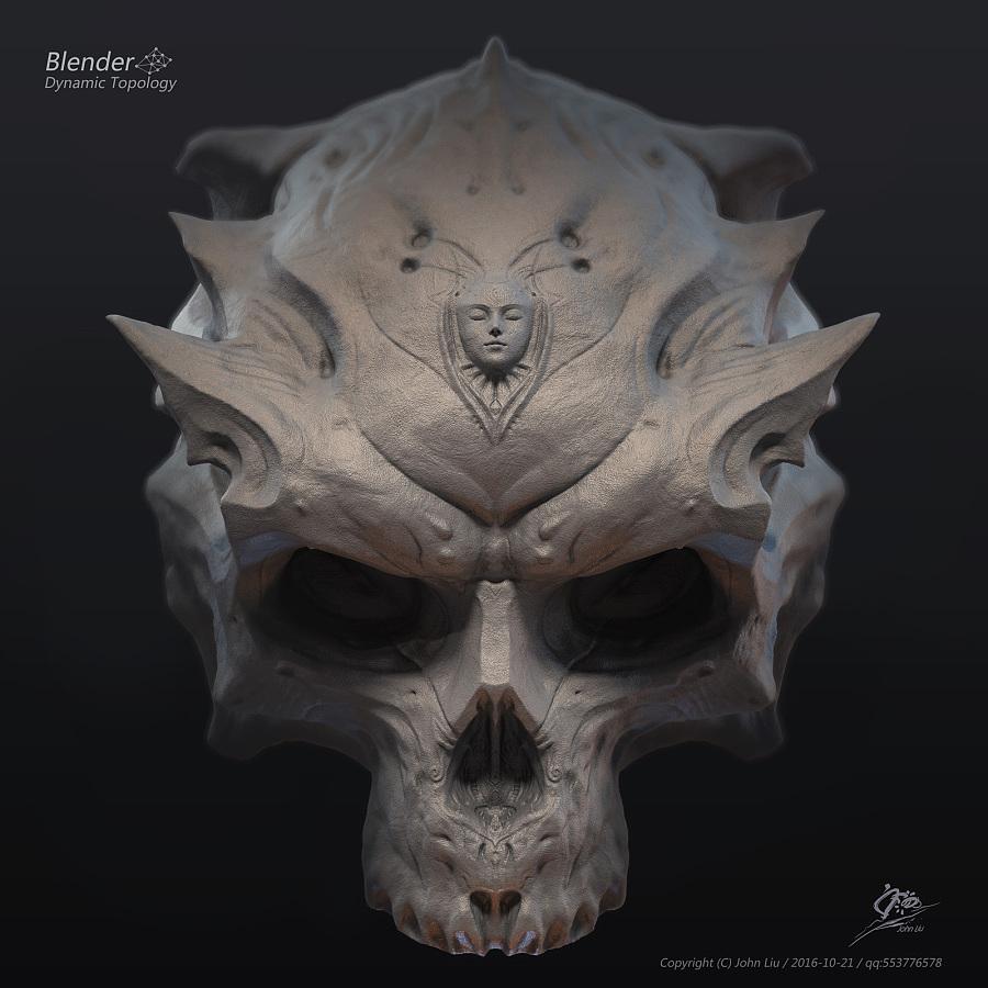 查看《Blender动态雕刻极限测试作品-双生头骨》原图,原图尺寸:1600x1600