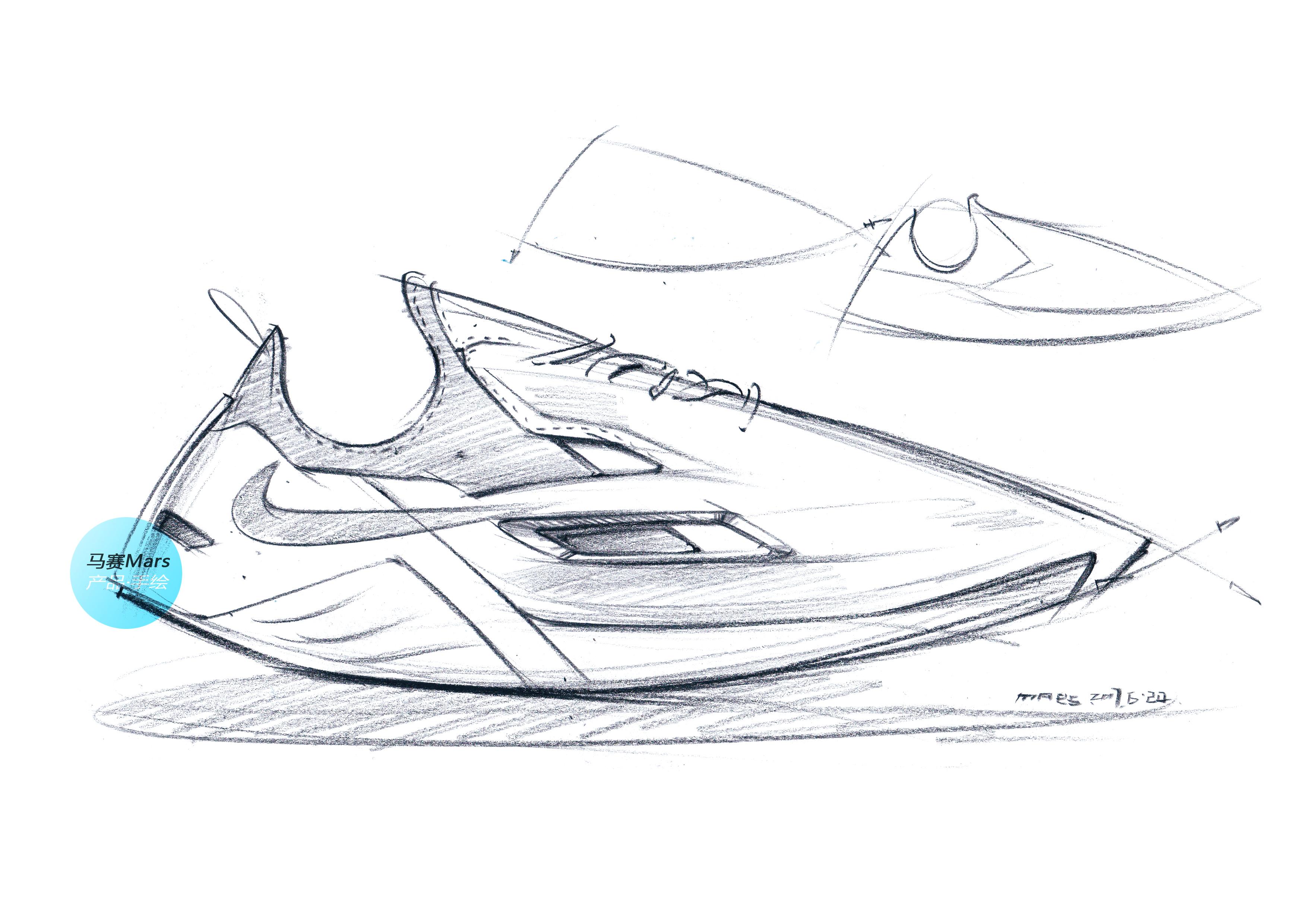 nike休闲运动鞋手绘—— 马赛(mars)作品|工业/产品