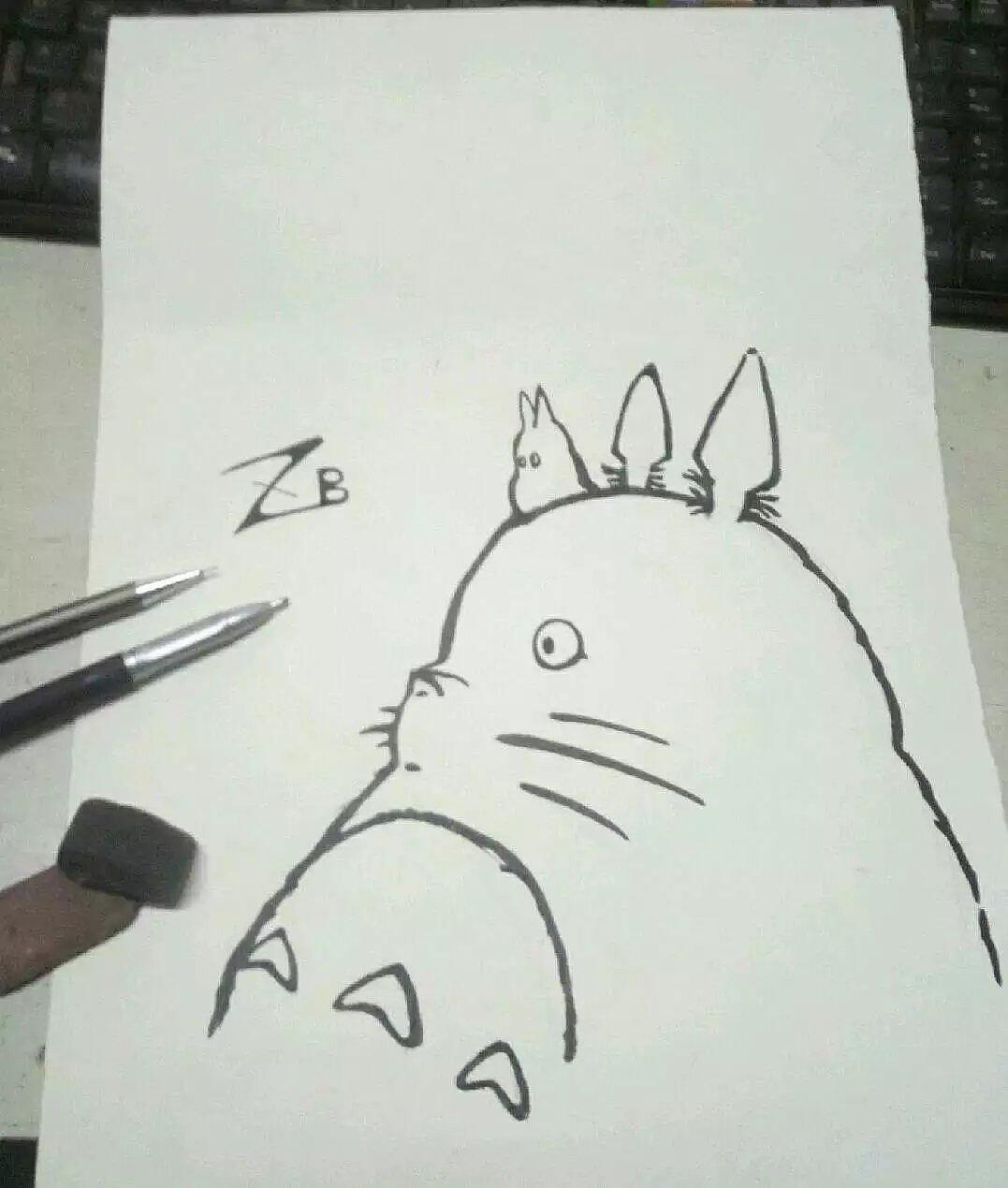 b手绘插画黑白水笔画