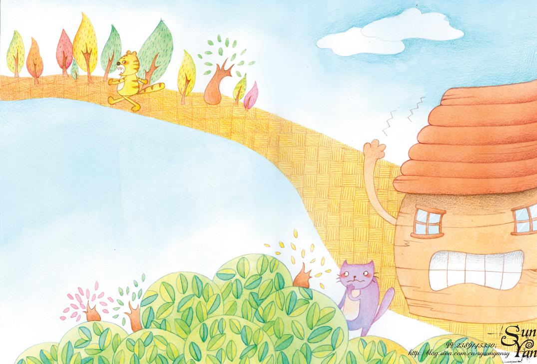 末末的彩铅世界—手绘画报故事插图 插画 儿童插画 末