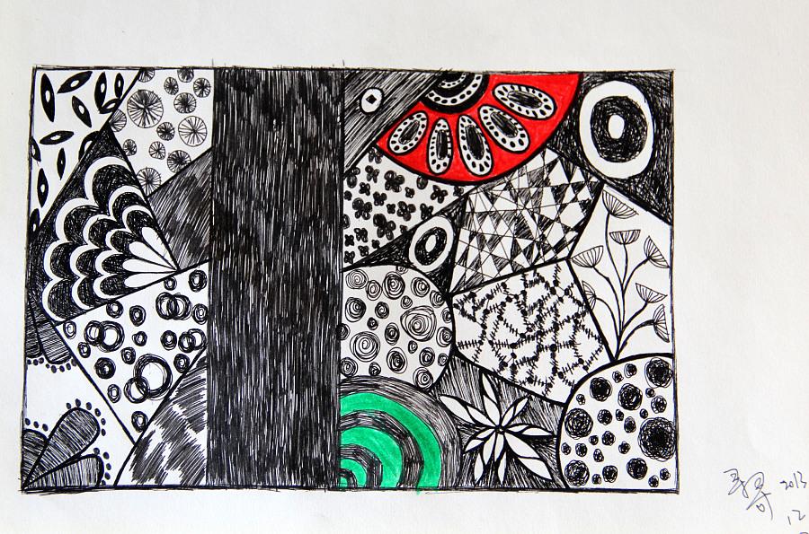 黑白花纹,图案,彩铅,水笔