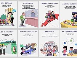 给本市绘制的十个民生实事宣传卡通插图