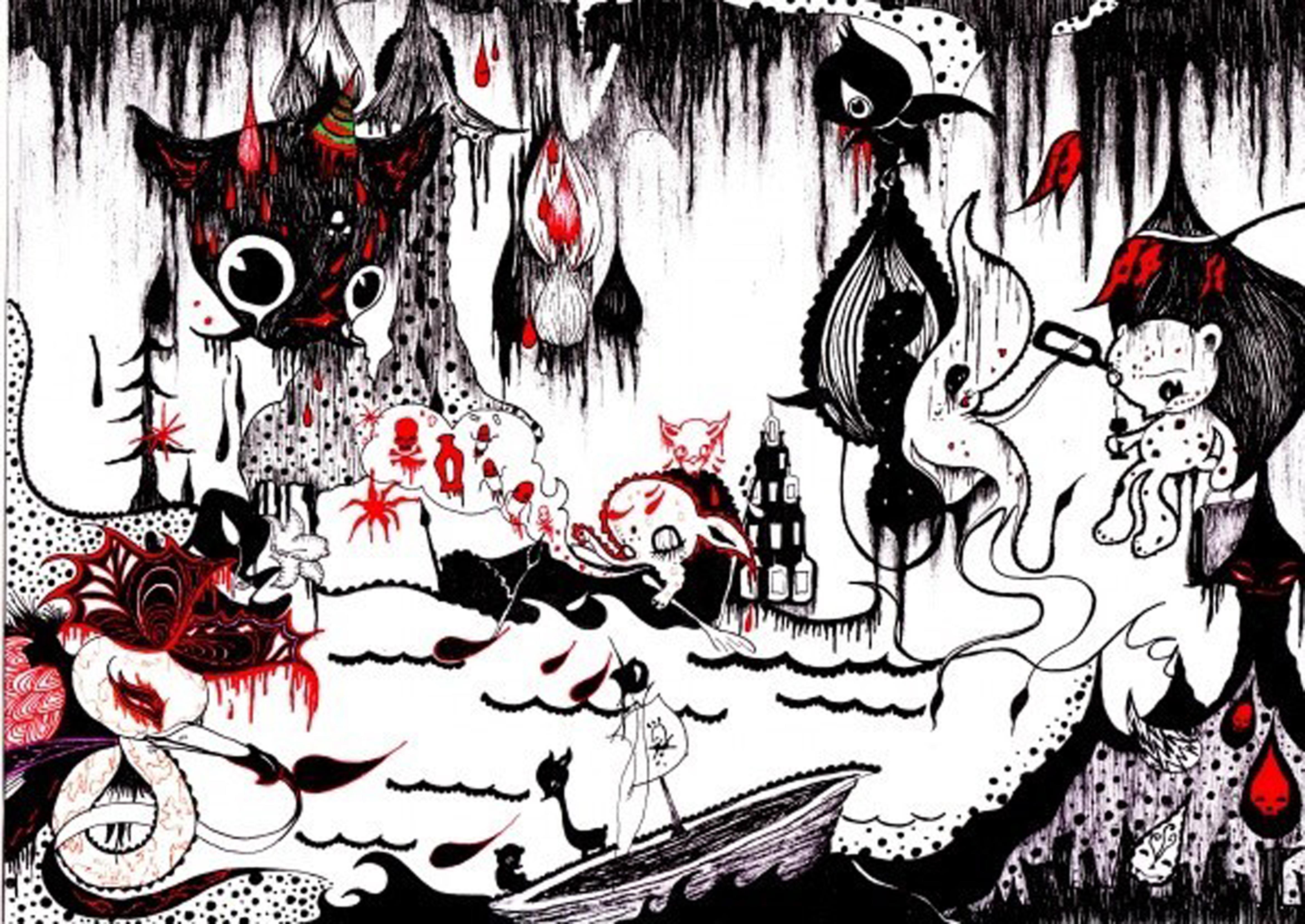 本组作品以鬼节为题,采用纯手绘上色.