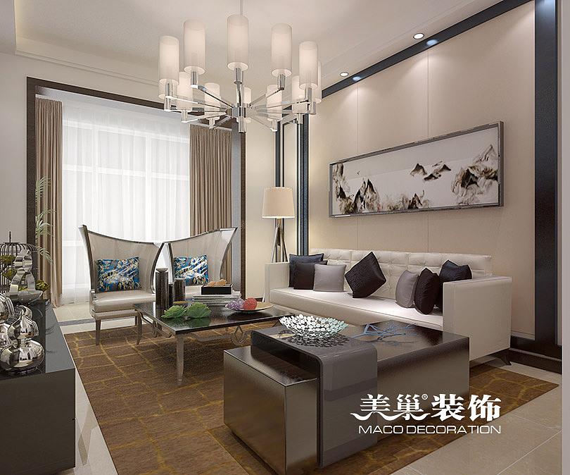 郑州美巢装饰正商城80平方新中式装修效果图——沙发背景墙图片