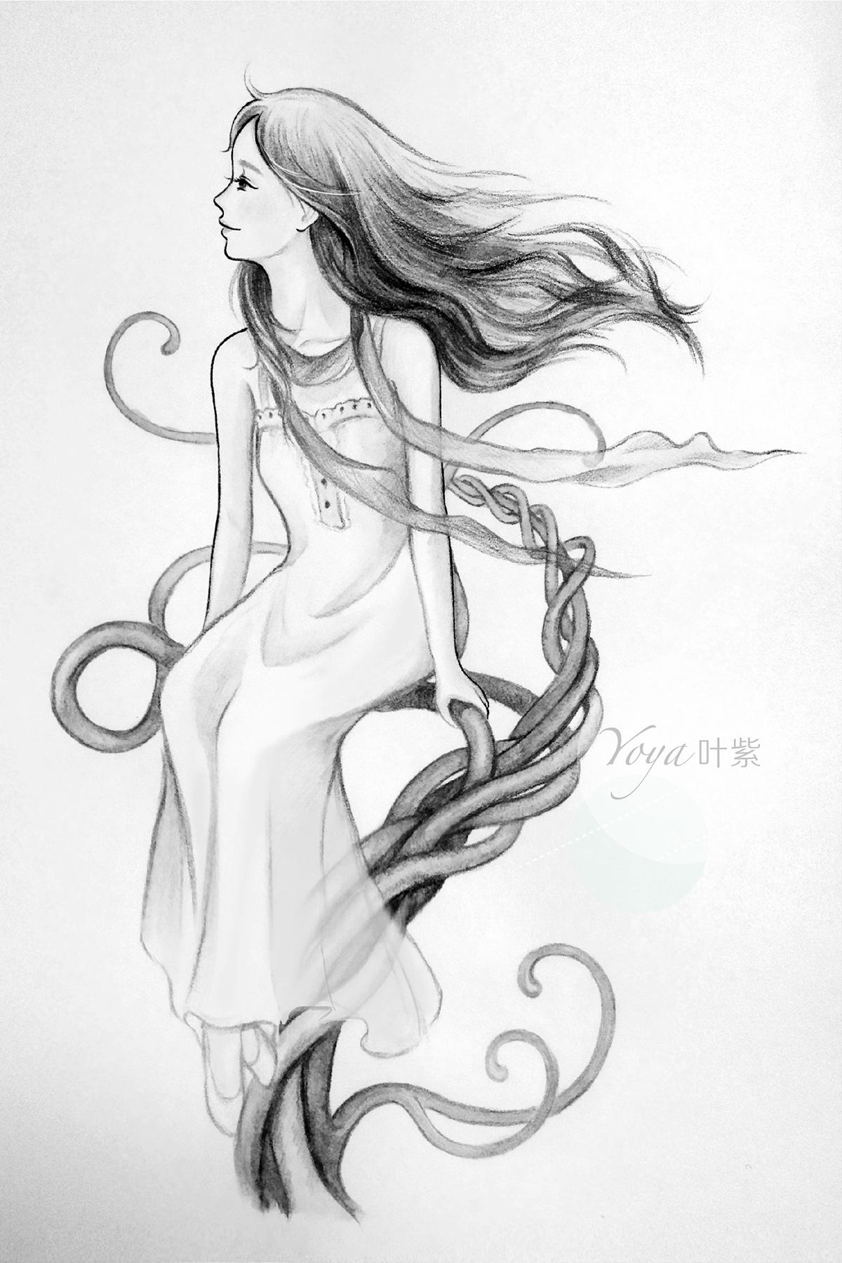 森女小清新风格彩铅手绘