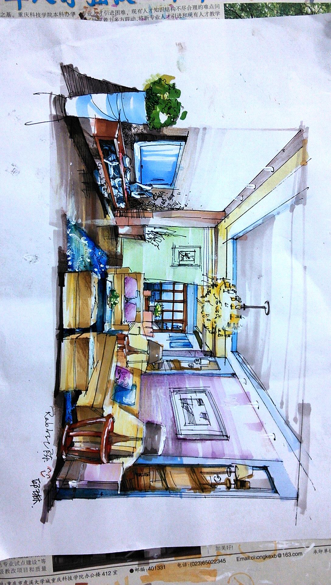 室内手绘图|空间|室内设计|兎美酱酱酱 - 原创作品
