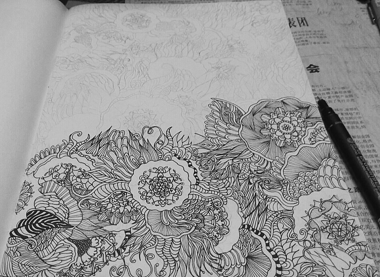 《花卉》黑白装饰画手绘全过程