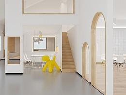 培训机构教育楼画画室内设计早教设计空间效果图装修