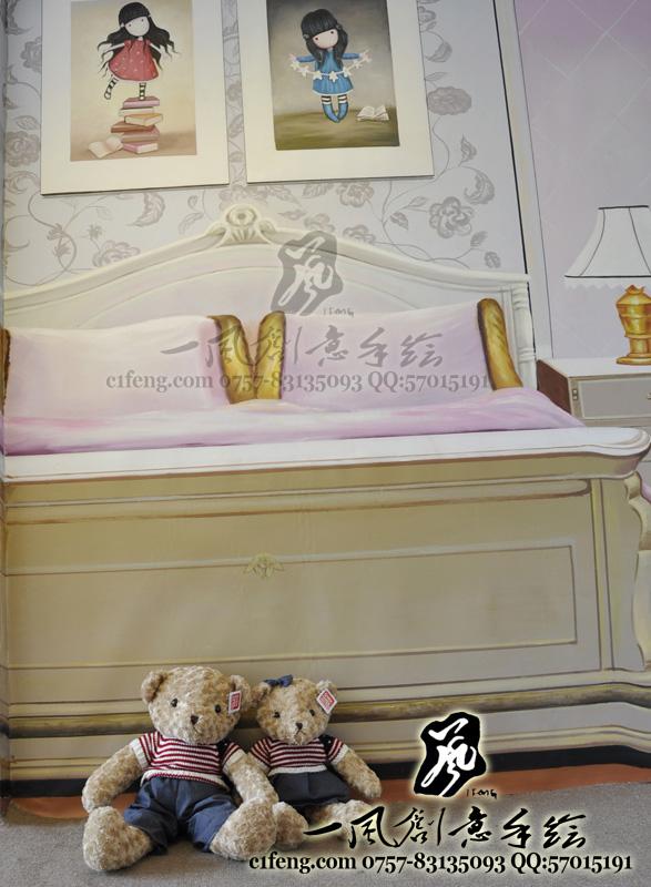 佛山星星凯旋国际清水样板房-欧式空间-手绘墙画