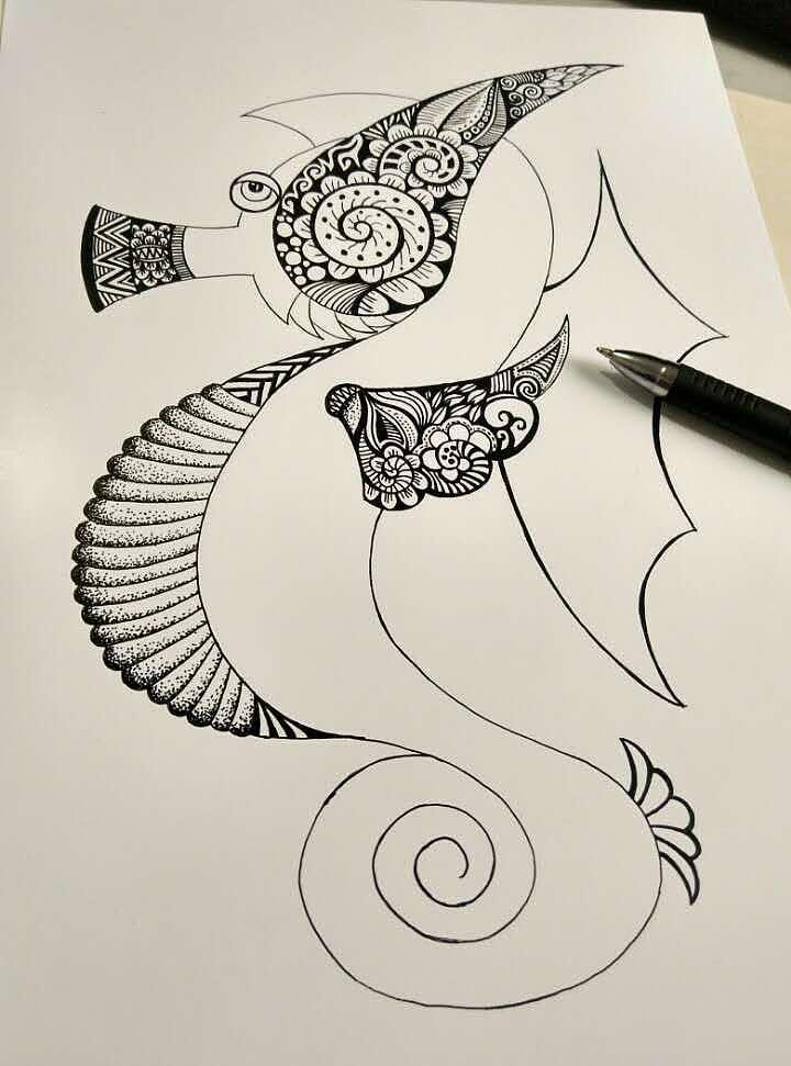 手绘黑白装饰画——海马|平面|图案|姚东亮 - 原创