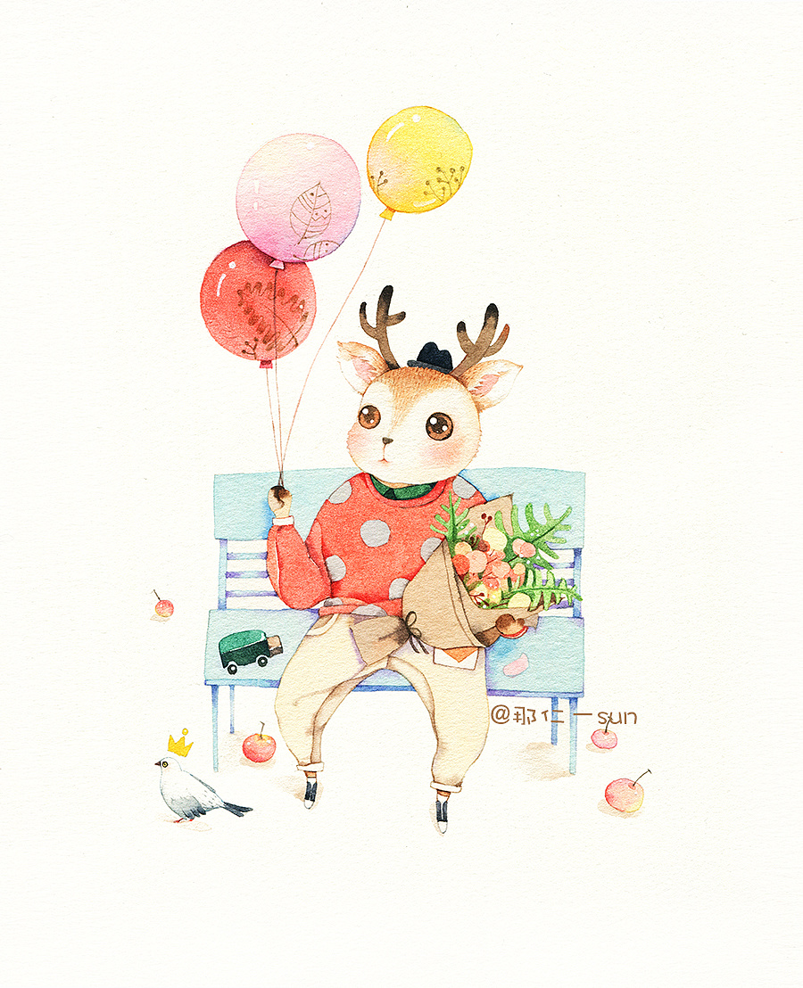 小鹿晕倒的简笔画