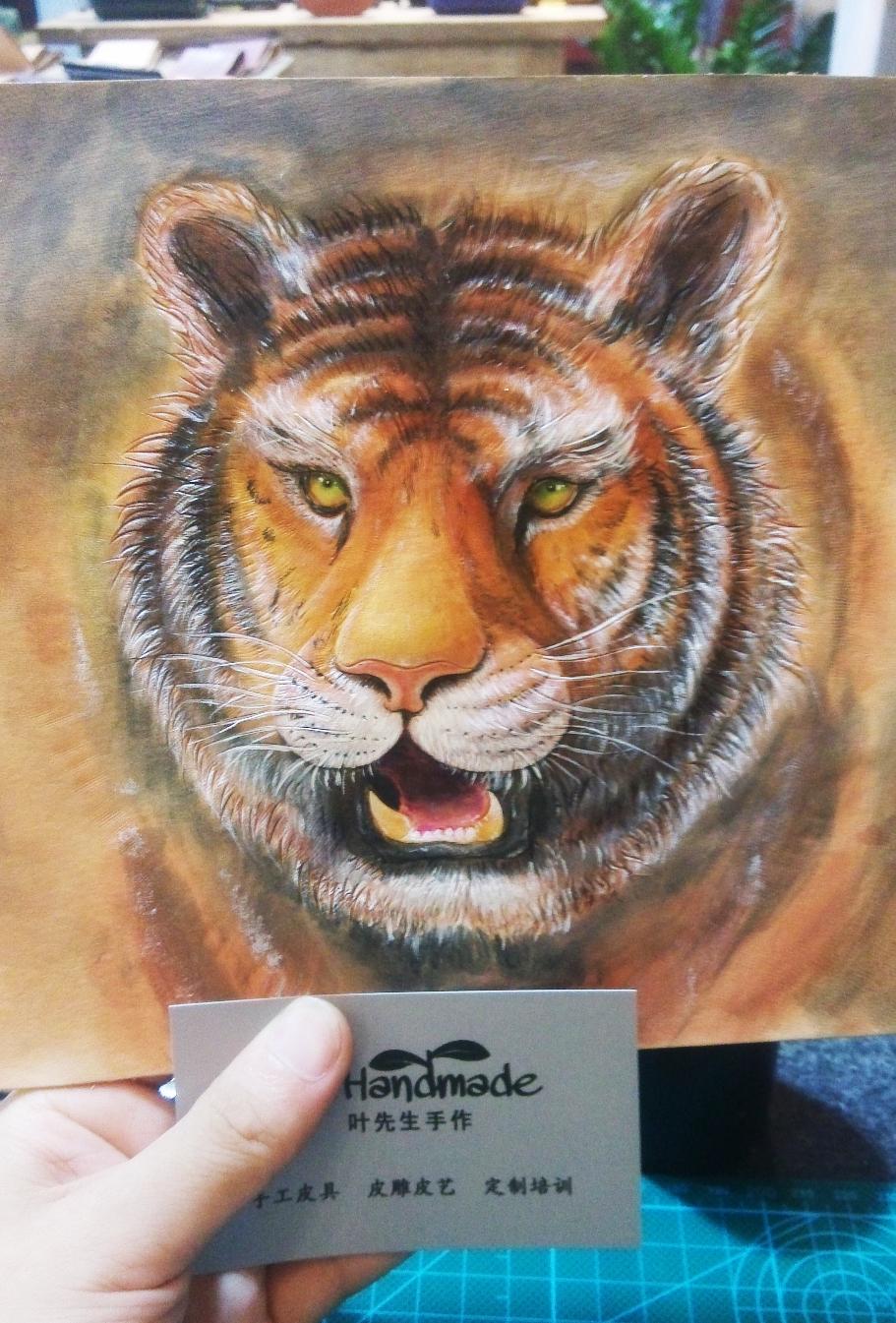 叶先生手作手工皮雕动物皮雕狮子皮雕老虎