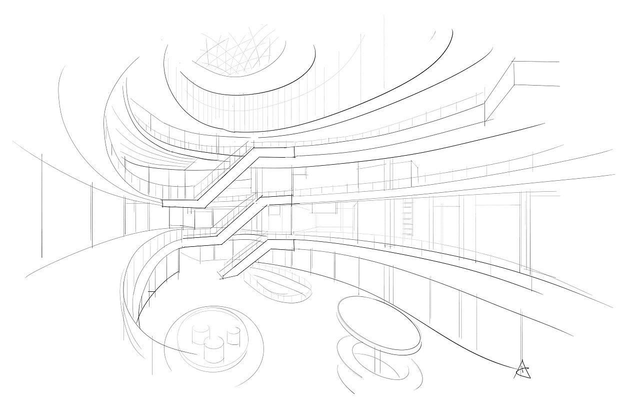 空间线稿(手绘) 空间 室内设计 A32号-原创作品机械设计培训在就业图片