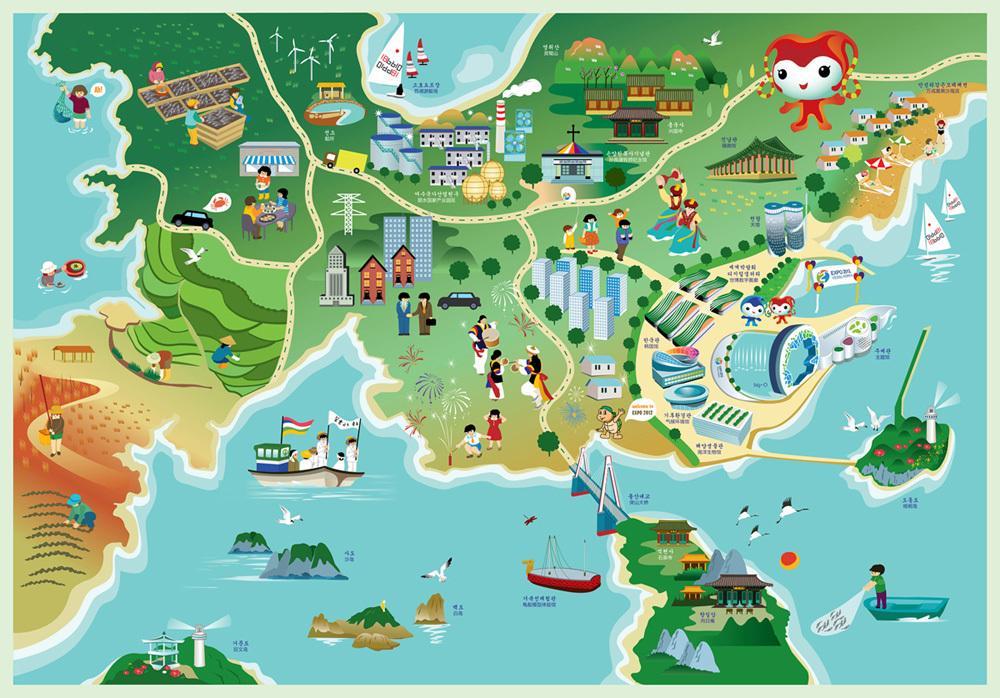 韩国丽水手绘地图
