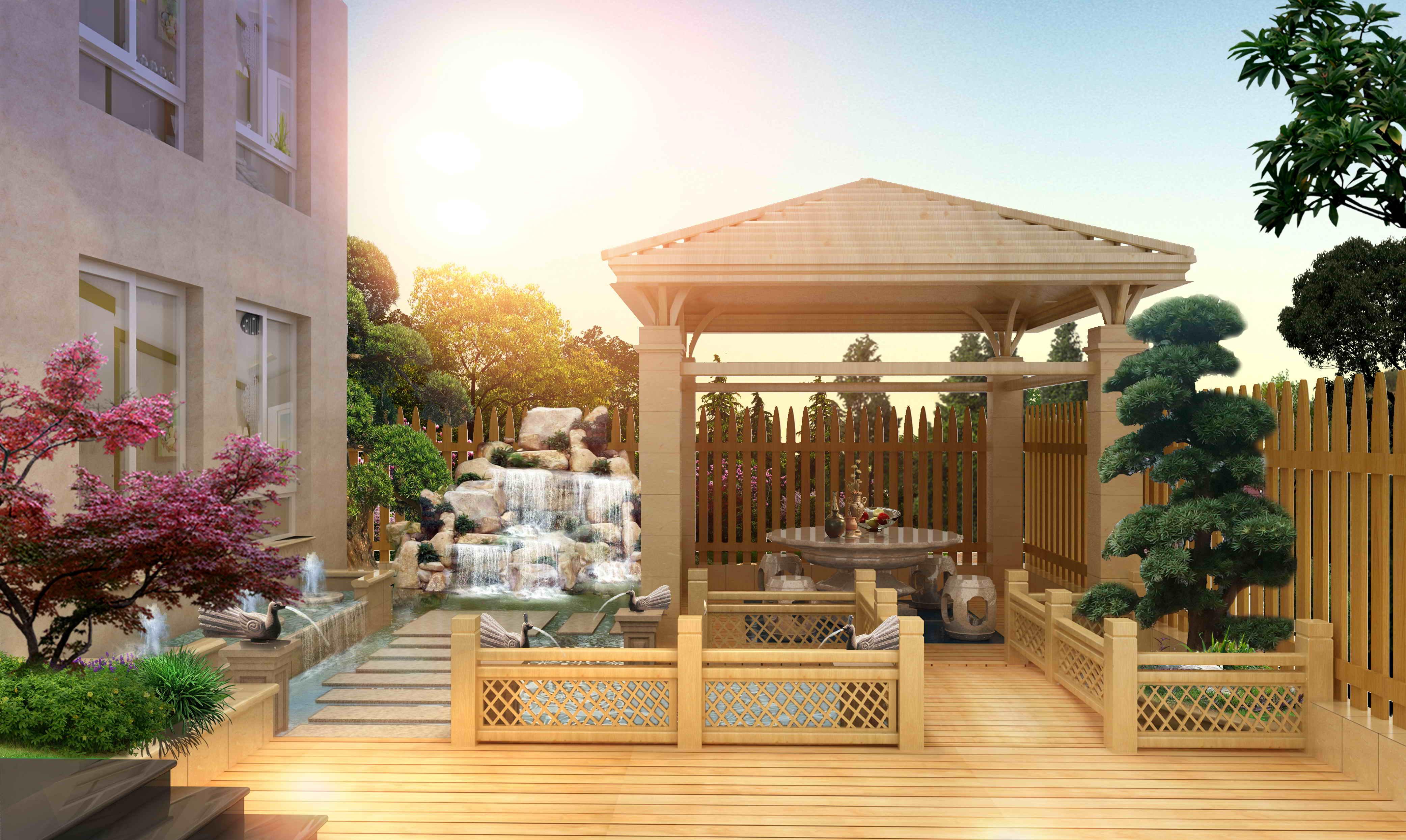 别墅庭院景观作品|空间|景观设计|畅美园林 - 原创图片