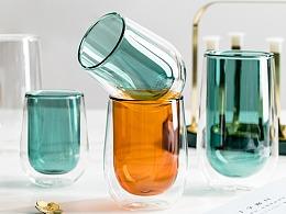 电商摄影 高颜值简约双层透明玻璃杯